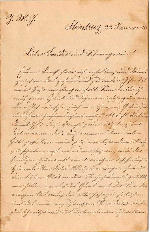 Wuellner family letter, January 22, 1893