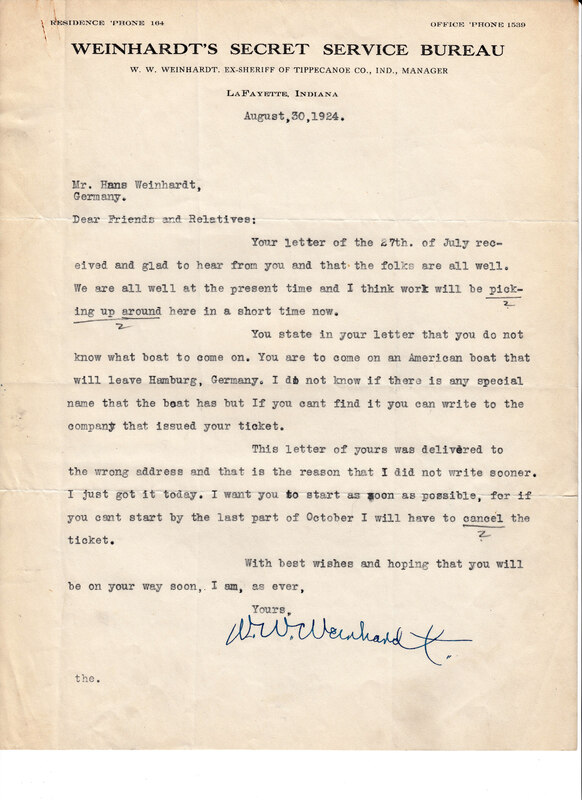 William W. Weinhardt to John V. Weinhardt, August 30, 1924