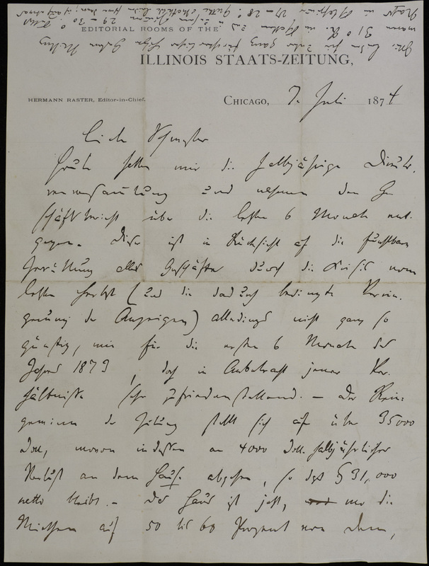 Hermann Raster to Sophie Raster, July 7, 1874