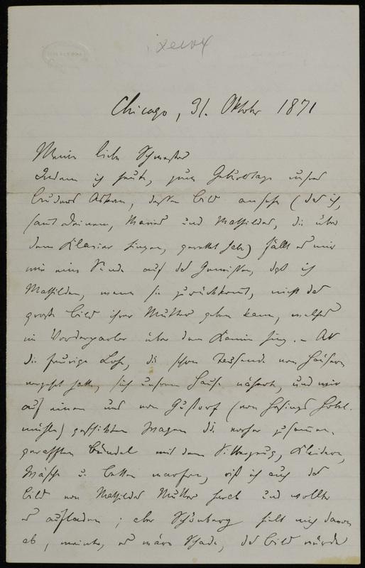 Hermann Raster to Sophie Raster, October 31, 1871