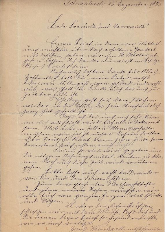 Johann P. Weinhardt to William W. Weinhardt, December 15, 1923