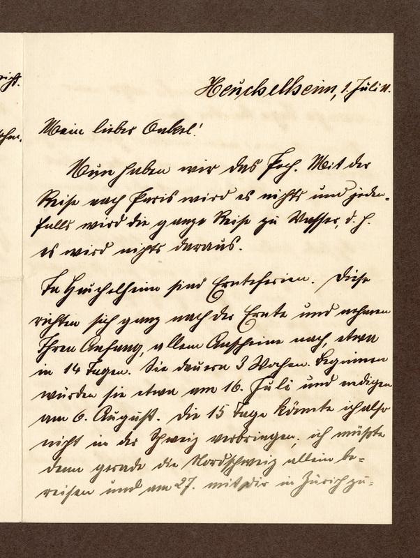 Eugen Haas to Eugen Klee, July 1, 1911