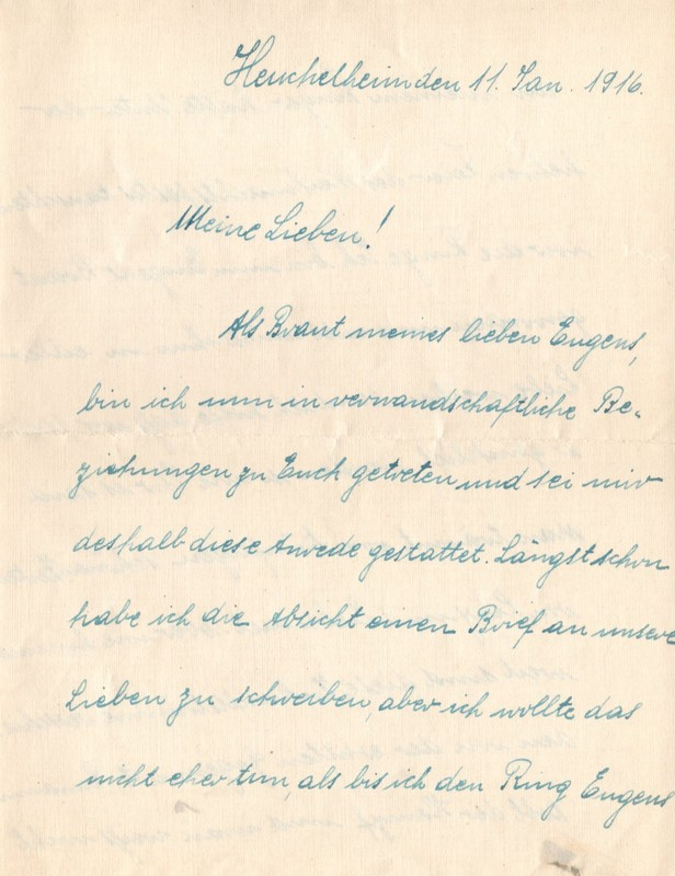 Lisbeth Rasp to Eugen Klee, January 11, 1916, page 1