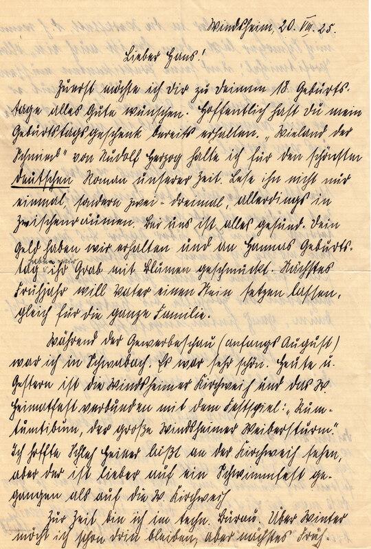 Philipp Weinhardt to John V. Weinhardt, August 20, 1925
