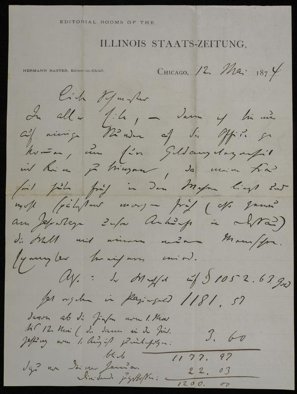 Hermann Raster to Sophie Raster, May 12, 1874