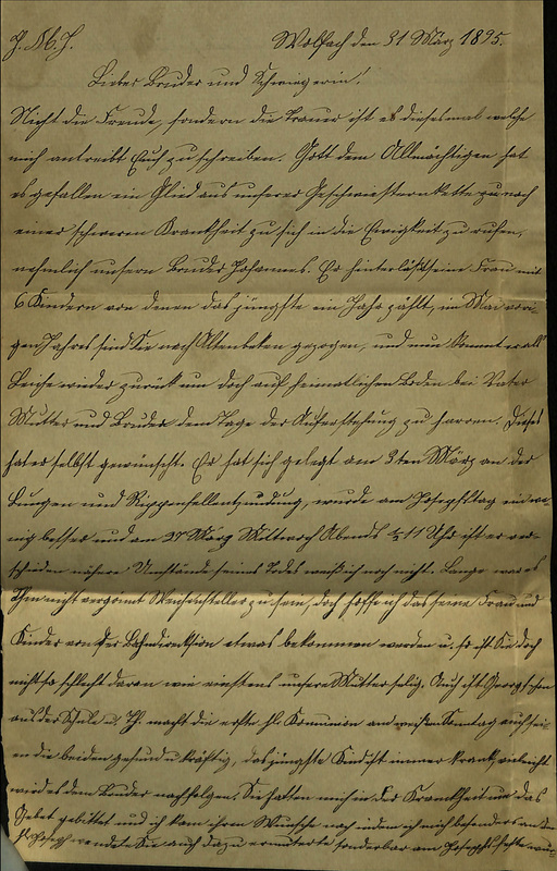 Wuellner family letter, March 31, 1895