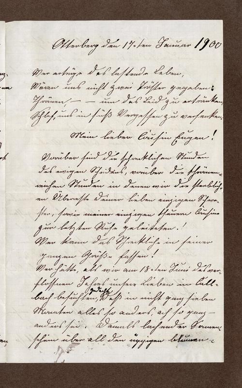 Klee family letter, January 17, 1900