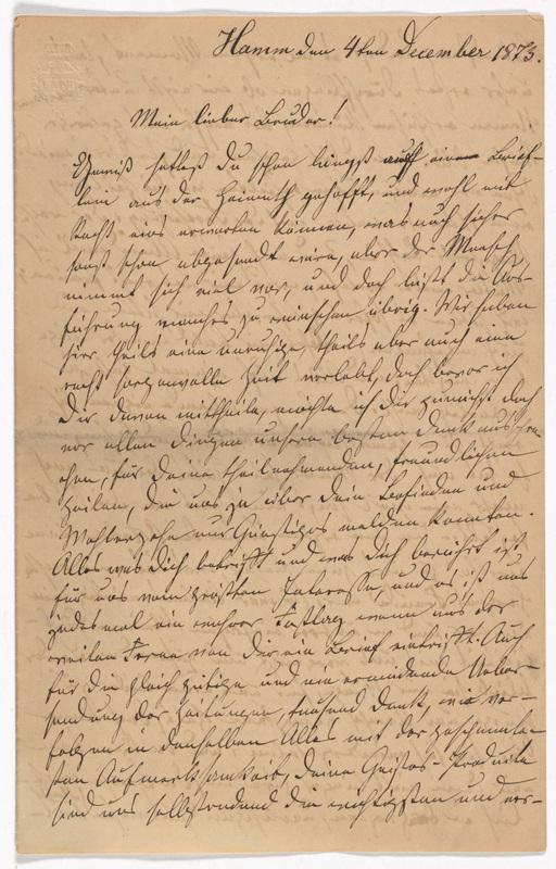 Emilie Hassel to Friedrich Wilhelm Hess, December 4, 1873