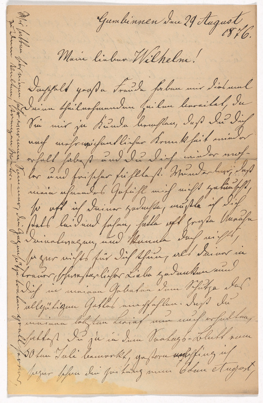 Emilie Hassel to Friedrich Wilhelm Hess, August 29, 1876