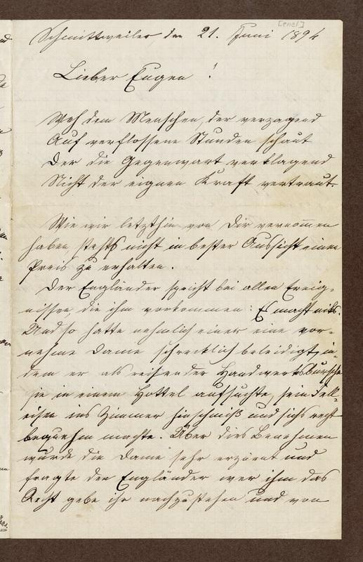 Amalia Haas to Eugen Klee, June 21, 1894