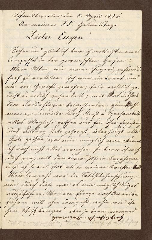 Jakob Klee to Eugen Klee, April 8, 1894