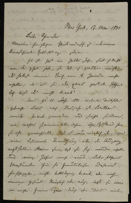 Hermann Raster to Sophie Raster, May 17, 1861