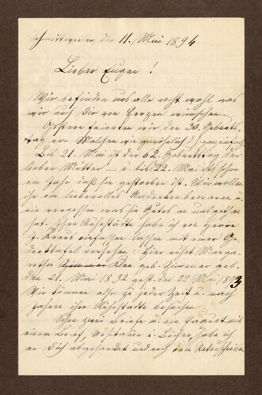 Amalia Haas to Eugen Klee, May 11, 1894