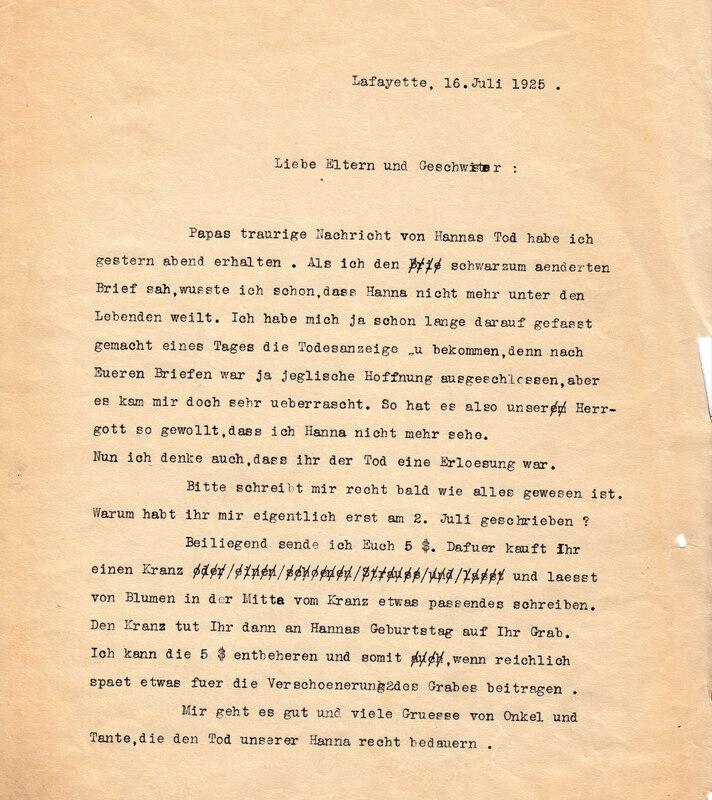 John V. Weinhardt to the Weinhardt family, July 16, 1925