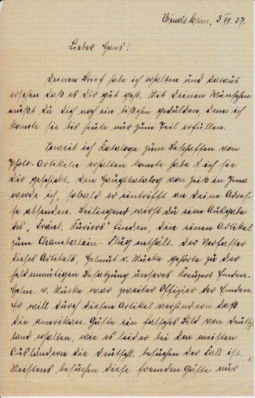 Philipp Weinhardt to John V. Weinhardt, July 3, 1927
