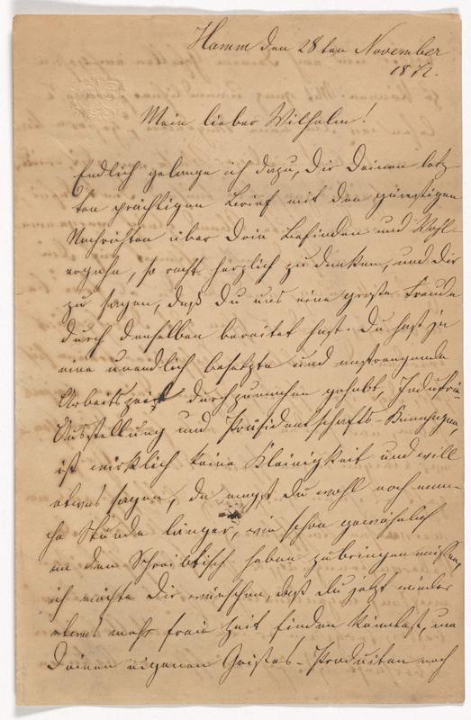 Emilie Hassel to Friedrich Wilhelm Hess, November 28, 1872