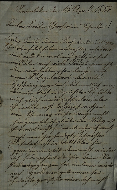 Wuellner family letter, April 15, 1883