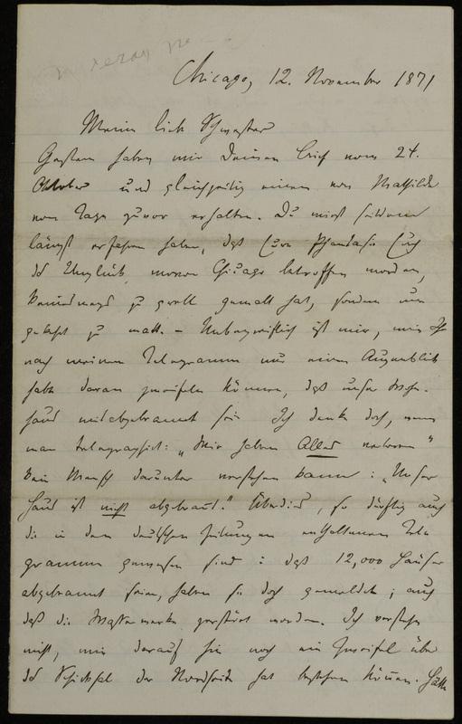 Hermann Raster to Sophie Raster, November 12, 1871