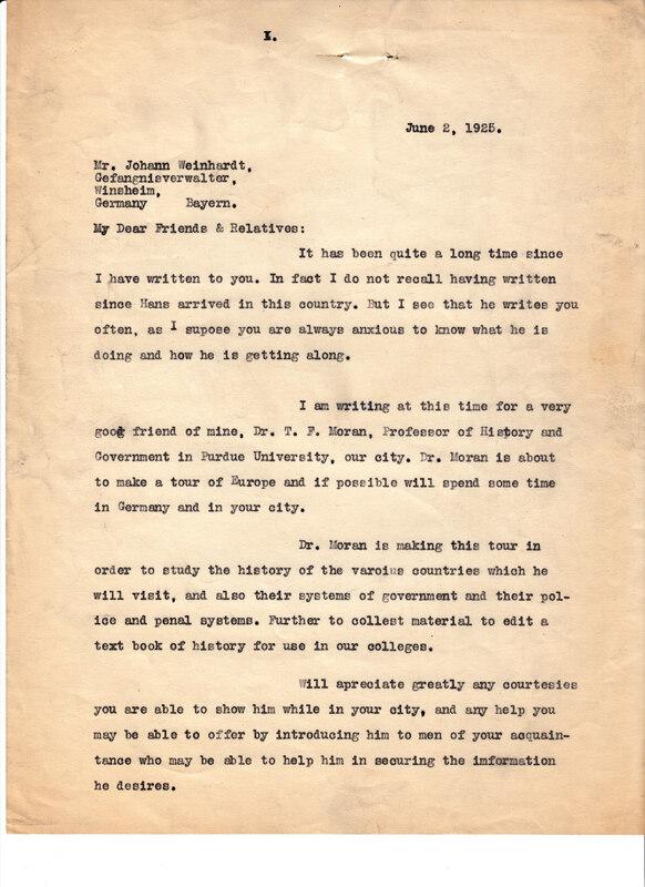 William W. Weinhardt to Johann P. Weinhardt, June 2, 1925
