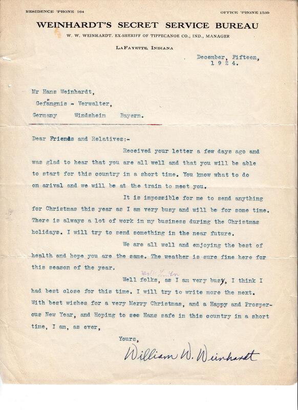 William W. Weinhardt to John V. Weinhardt, December 15, 1924