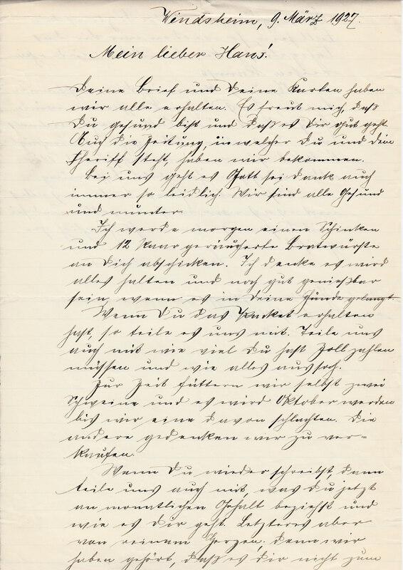 Johann P. Weinhardt to John V. Weinhardt, March 9, 1927