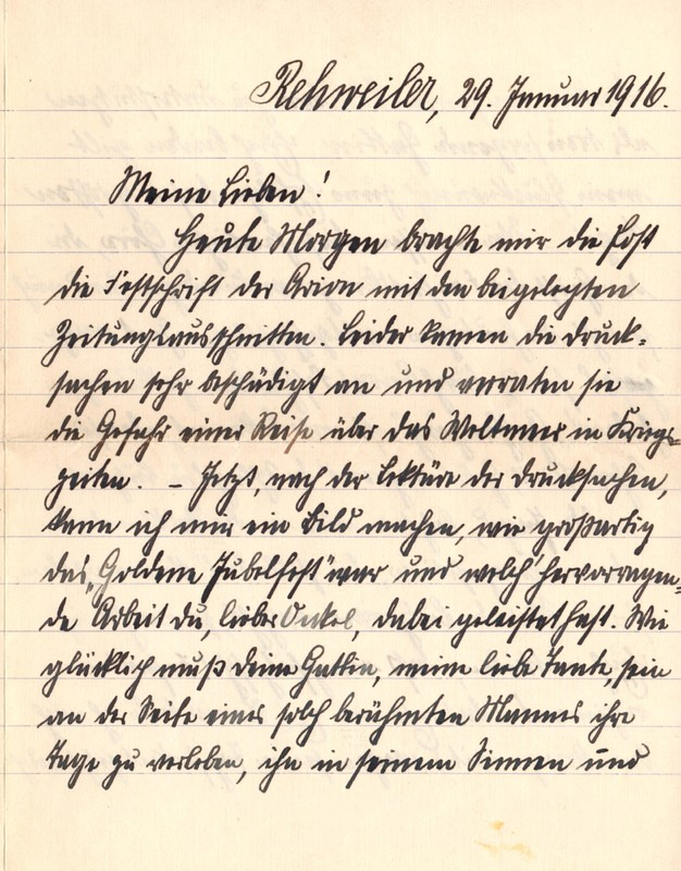 Eugen Haas to Eugen Klee, January 29, 1916, page 1