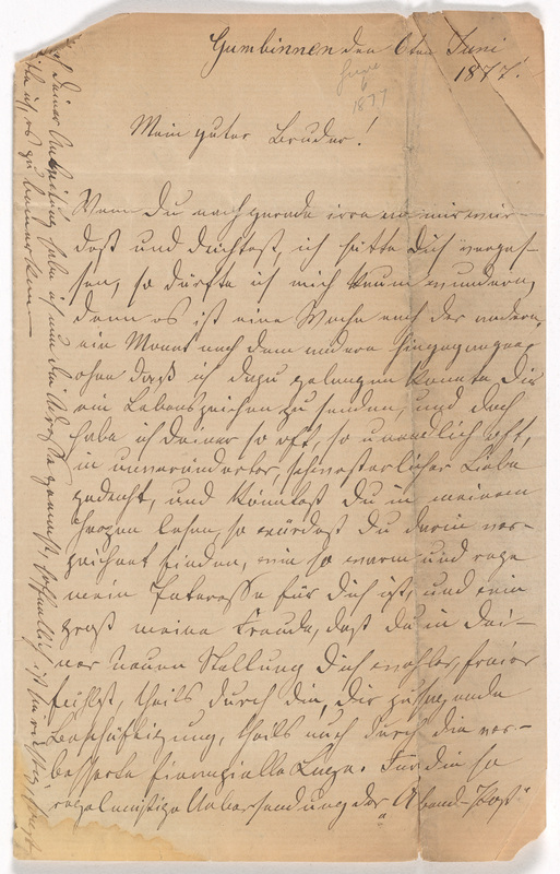 Emilie Hassel to Friedrich Wilhelm Hess, June 6, 1877