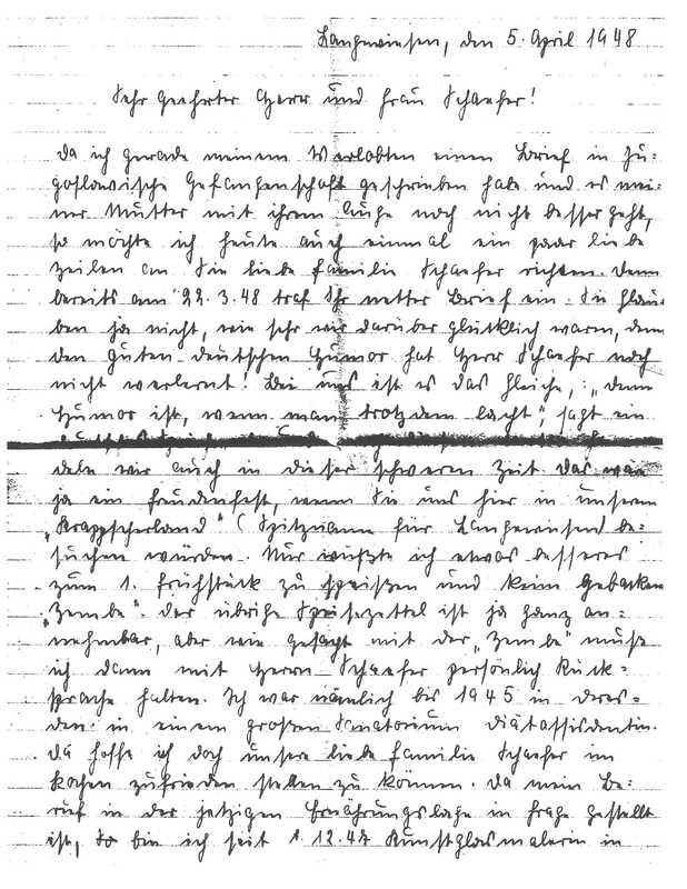 Dora Weber to Frank Schaefer and Anna Schaefer, April 5, 1948