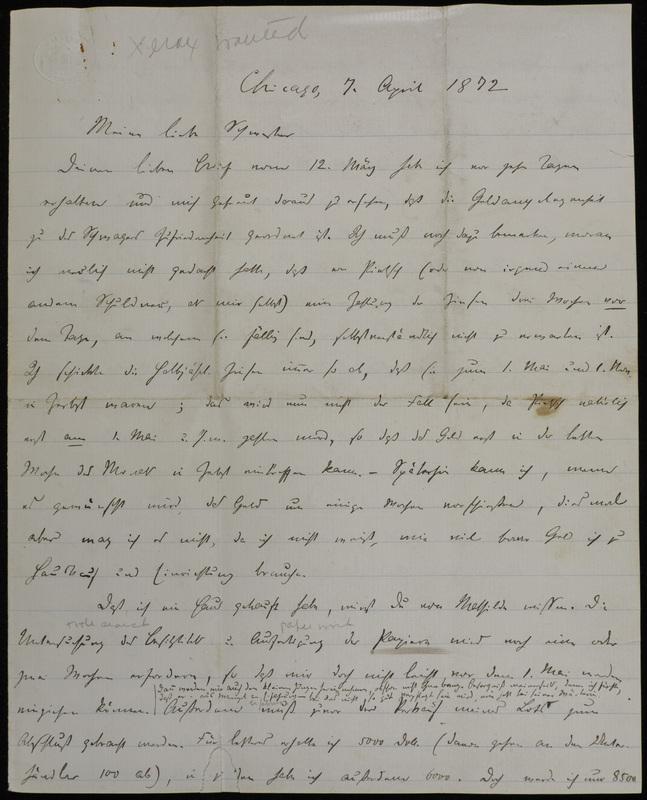 Hermann Raster to Sophie Raster, April 7, 1872
