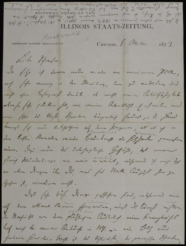 Hermann Raster to Sophie Raster, October 8, 1873