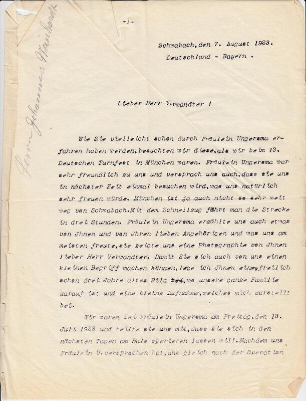 John V. Weinhardt to William W. Weinhardt, August 7, 1923