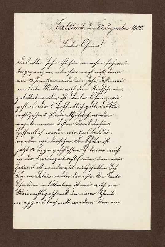 Klee family letter, December 24, 1900