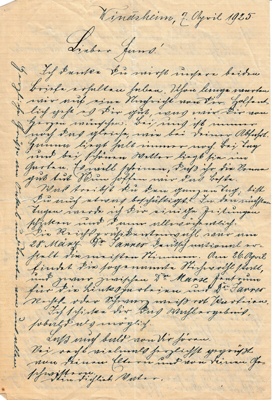 Johann P. Weinhardt and Margarete Weinhardt to John V. Weinhardt, April 7, 1925
