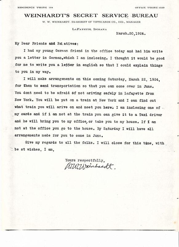 William W. Weinhardt to John V. Weinhardt, March 20, 1924
