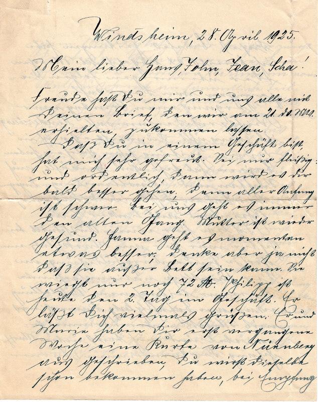 Johann P. Weinhardt and Margarete Weinhardt to John V. Weinhardt, April 28, 1925