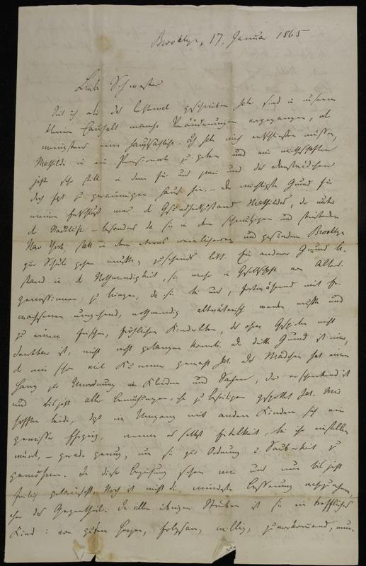 Hermann Raster to Sophie Raster, January 17, 1865