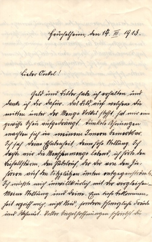 Eugen Haas to Eugen Klee, March 14, 1913, page 1
