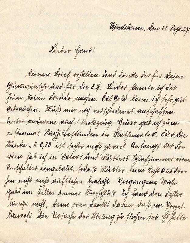 Philipp Weinhardt to John V. Weinhardt, September 22, 1927