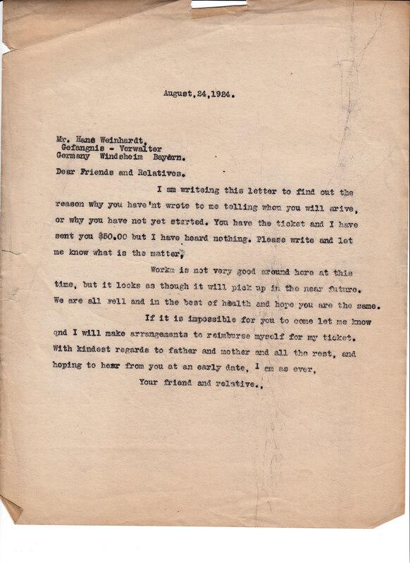 William W. Weinhardt to John V. Weinhardt, August 24, 1924