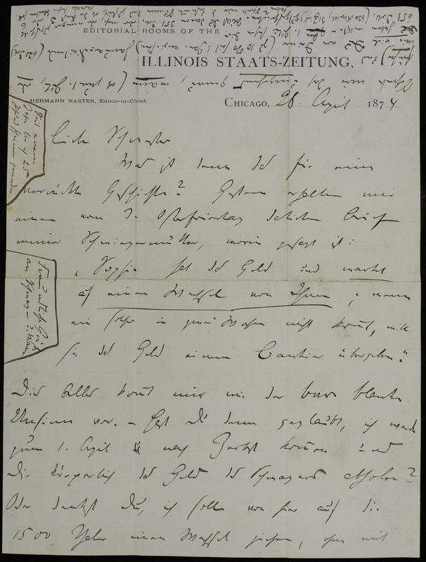 Hermann Raster to Sophie Raster, April 28, 1874