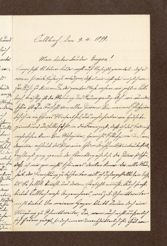 Amalia Haas to Eugen Klee, April 9, 1899