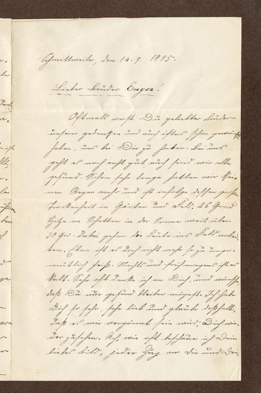 Klee family letter, September 14, 1895