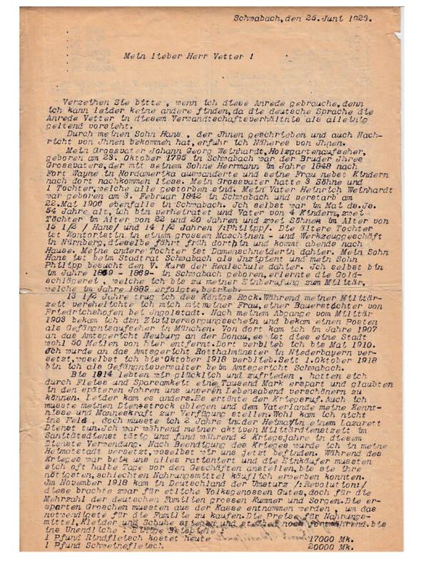 Johann P. Weinhardt to William W. Weinhardt, June 25, 1923