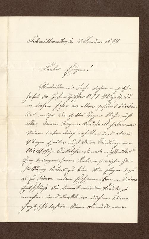 Klee family letter, February 10, 1899