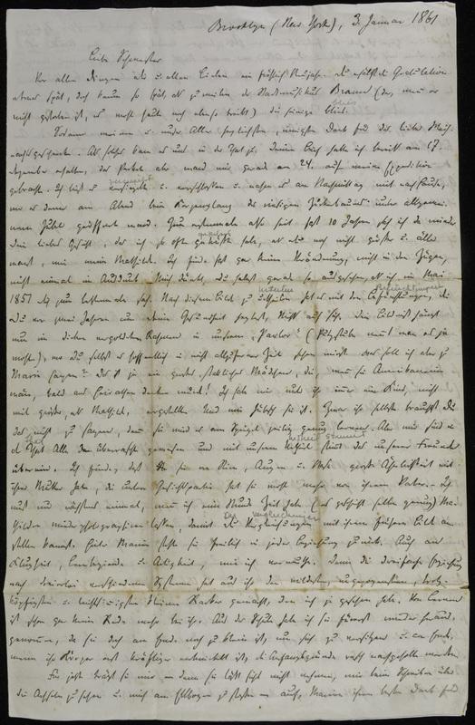 Hermann Raster to Sophie Raster, January 3, 1861