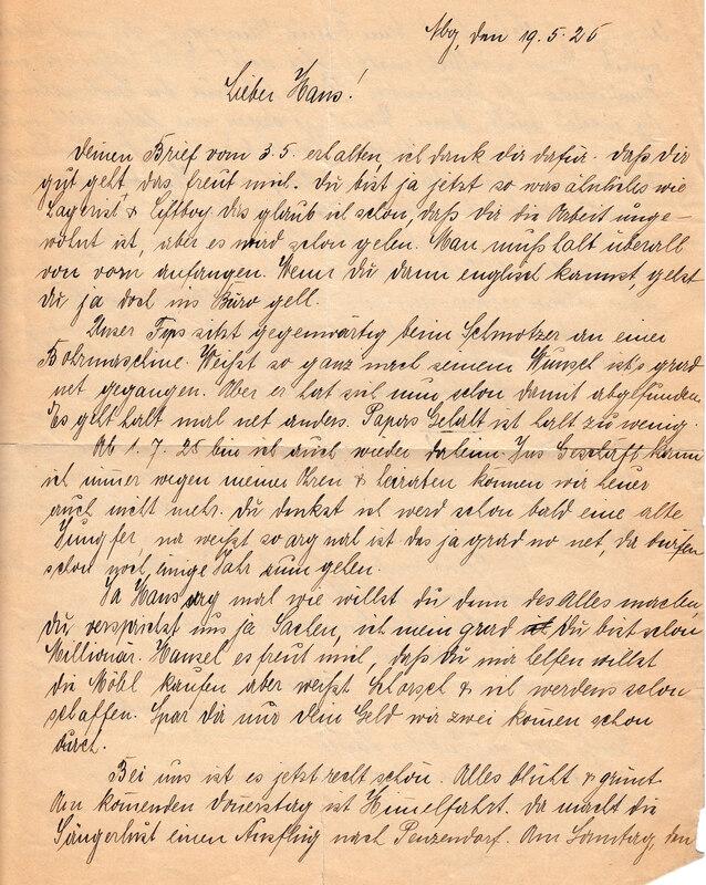 Marie Weinhardt to John V. Weinhardt, May 19, 1925