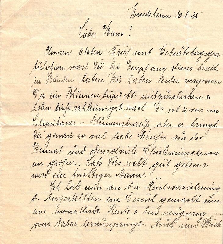 Marie Weinhardt and Margarete Weinhardt to John V. Weinhardt, August 30, 1925