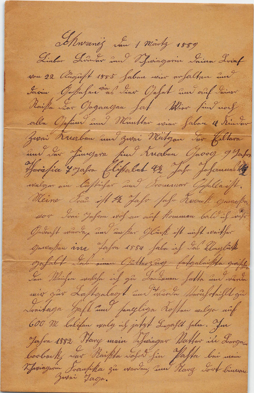 Wuellner family letter, March 1, 1889