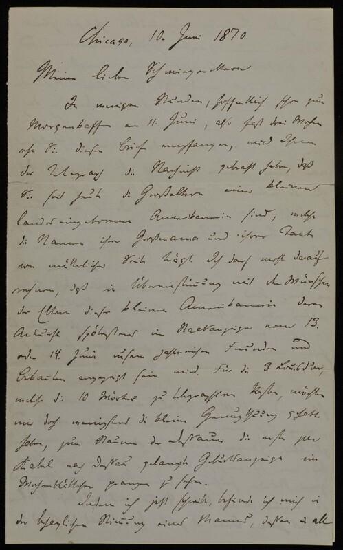 Hermann Raster to Anna Oppenheim, June 10, 1870