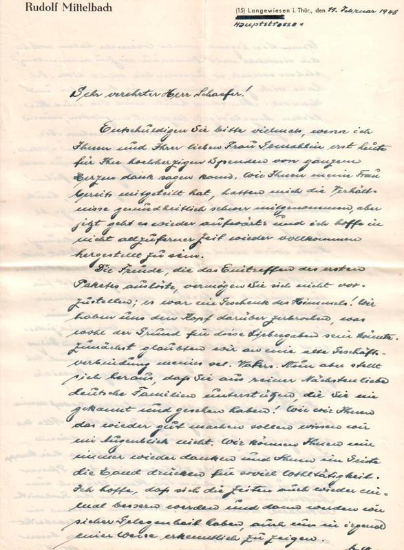 Rudolf Mittelbach to Frank Schaefer, February 11, 1948